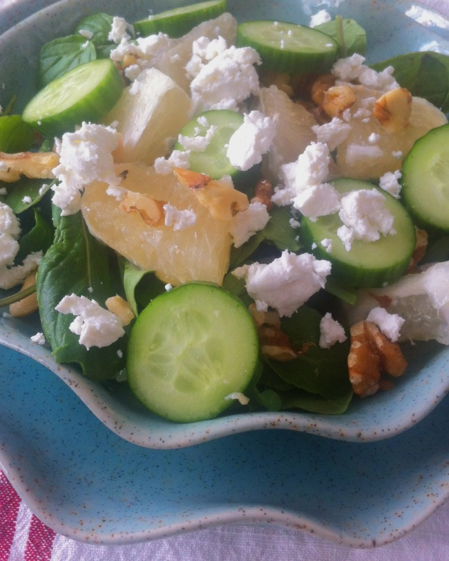 cucumber, oro blanco & goat cheese salad! #casitabythesea